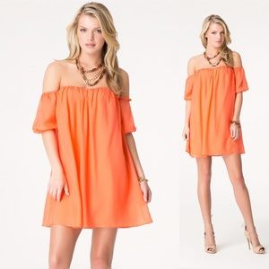 Bebe Off The Shoulder Tent Silk Dress Coral 4